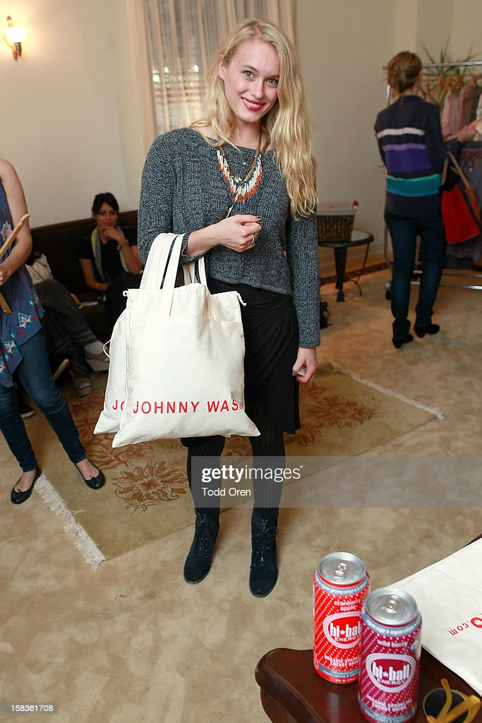 Actress Leven Rambin shops at the Johnny Was Holiday Gifting Suite at Chateau Marmont on December 13, 2012 in Los Angeles, California.
