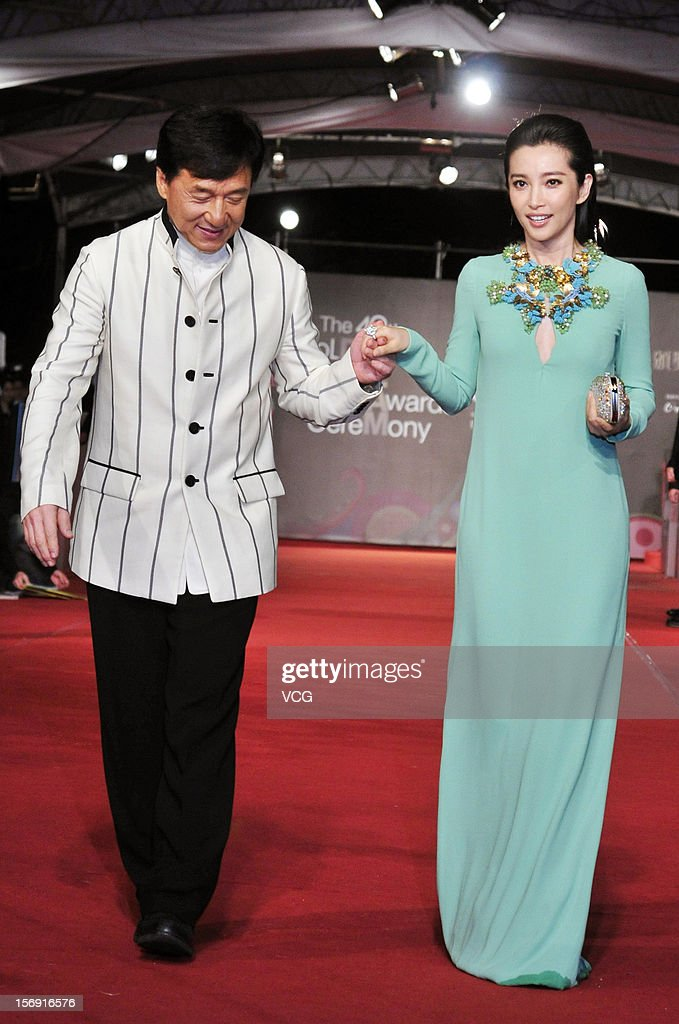 Actress Li Bingbing and actor Jackie Chan arrives at the red carpet of the 49th Golden Horse Awards at the Luodong Cultural Working House on November 24, 2012 in Ilan, Taiwan.