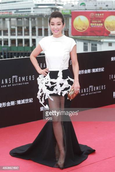Actress Li Bingbing arrives at the red carpet of 'Transformers Age of Extinction' worldwide premiere at Hong Kong Cultural Centre on June 19 2014 in...