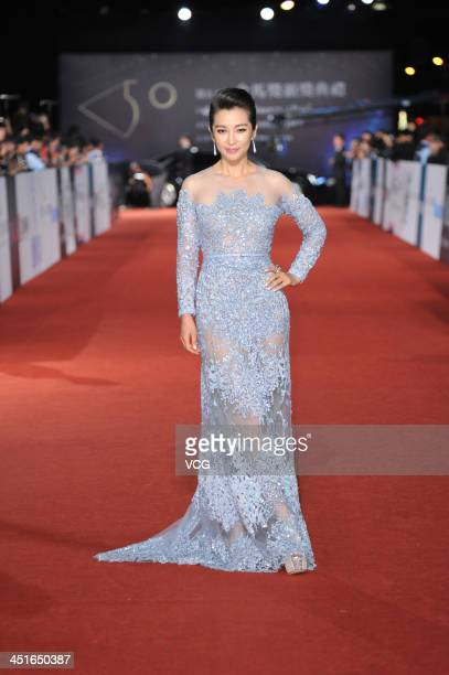 Actress Li Bingbing arrives on the red carpet of the 50th Golden Horse Awards at Sun Yatsen Memorial Hall on November 23 2013 in Taipei Taiwan