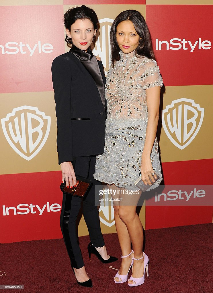Actress Liberty Ross and actress Thandie Newton arrive at the InStyle And Warner Bros. Golden Globe Party at The Beverly Hilton Hotel on January 13, 2013 in Beverly Hills, California.