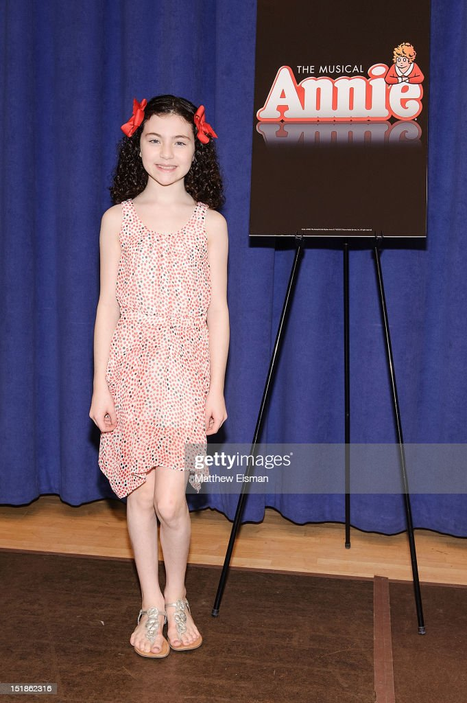 Actress Lilla Crawford attends the 'Annie' on Broadway cast photo call at The New 42nd Street Studios on September 12 2012 in New York City