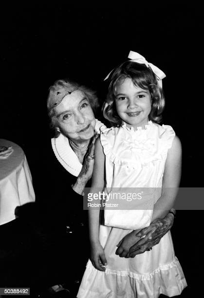 Actress Lillian Gish w child actress Drew Barrymore celebrating the Barrymore commemorative stamp