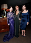Actress Lilly Collins model Miranda Kerr and actress Emily Mortimer attend the 2013 Vanity Fair Oscar Party hosted by Graydon Carter at Sunset Tower...
