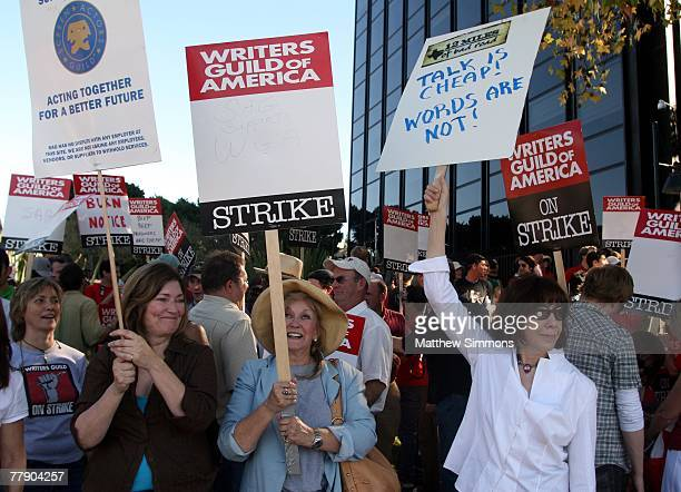 Actress Lilly Tomlin pickets in support of the Writers Guild of America which is currently onstrike for increased residuals from film and television...