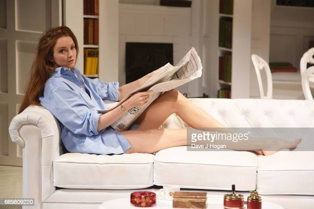 Actress Lily Cole rehearses ahead of Thursday's official West End opening of The Philanthropist directed by Simon Callow at Trafalgar Studios on...