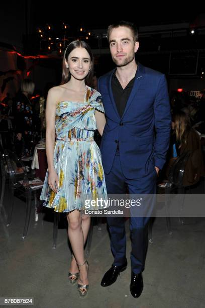 Actress Lily Collins and Actor Robert Pattinson attend the 2017 GO Campaign Gala at NeueHouse Los Angeles on November 18 2017 in Hollywood California