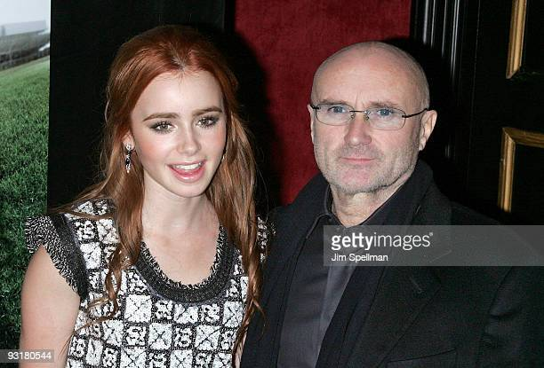 Actress Lily Collins and Musician Phil Collins attend 'The Blind Side' premiere at the Ziegfeld Theatre on November 17 2009 in New York City