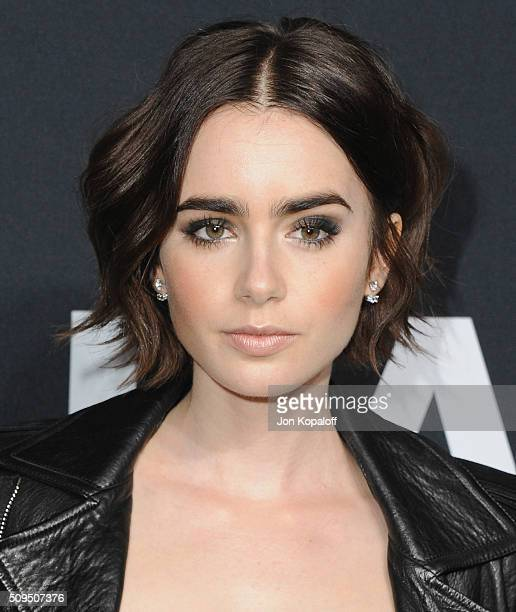 Actress Lily Collins arrives at SAINT LAURENT At The Palladium at Hollywood Palladium on February 10 2016 in Los Angeles California