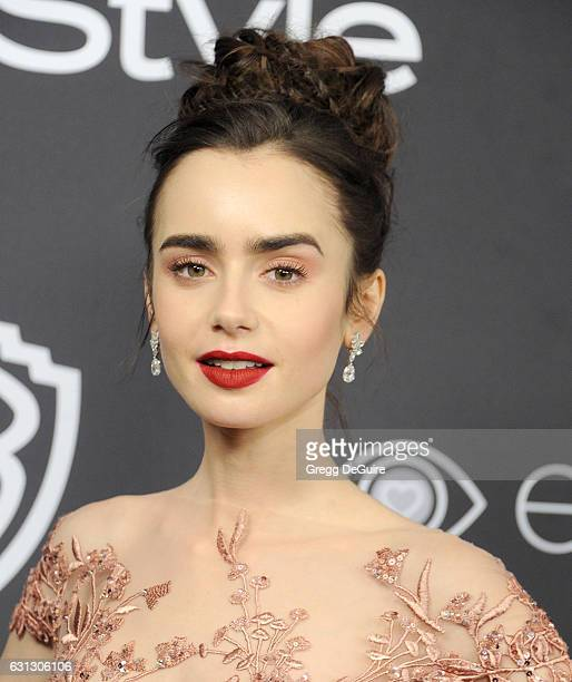 Actress Lily Collins arrives at the 18th Annual PostGolden Globes Party hosted by Warner Bros Pictures and InStyle at The Beverly Hilton Hotel on...