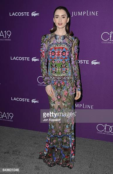 Actress Lily Collins arrives at the 19th CDGA at The Beverly Hilton Hotel on February 21 2017 in Beverly Hills California