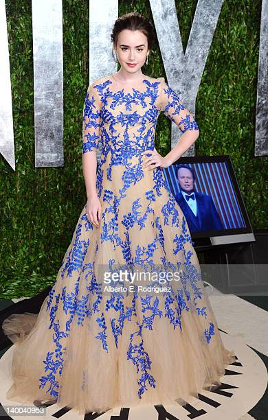 Actress Lily Collins arrives at the 2012 Vanity Fair Oscar Party hosted by Graydon Carter at Sunset Tower on February 26 2012 in West Hollywood...