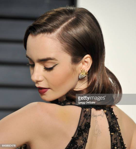Actress Lily Collins arrives at the 2017 Vanity Fair Oscar Party Hosted By Graydon Carter at Wallis Annenberg Center for the Performing Arts on...
