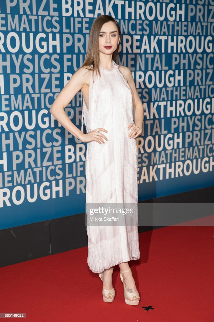 Actress Lily Collins arrives at the 2018 Breakthrough Prize at NASA Ames Research Center on December 3, 2017 in Mountain View, California.
