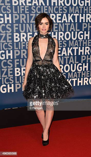 Actress Lily Collins arrives at the 3rd Annual Breakthrough Prize Award Ceremony at NASA Ames Research Center on November 8 2015 in Mountain View...