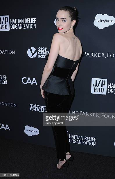 Actress Lily Collins arrives at the 6th Annual Sean Penn Friends HAITI RISING Gala Benefiting J/P Haitian Relief Organization at Montage Beverly...