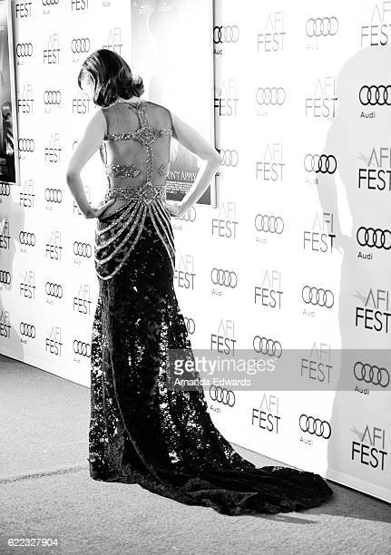 Actress Lily Collins arrives at the AFI FEST 2016 Presented by Audi Opening Night Premiere of 20th Century Fox's 'Rules Don't Apply' at the TCL...