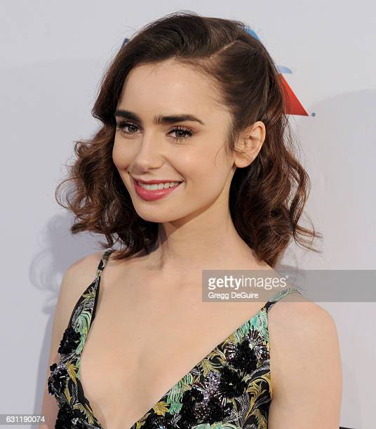Actress Lily Collins arrives at The BAFTA Tea Party at Four Seasons Hotel Los Angeles at Beverly Hills on January 7 2017 in Los Angeles California