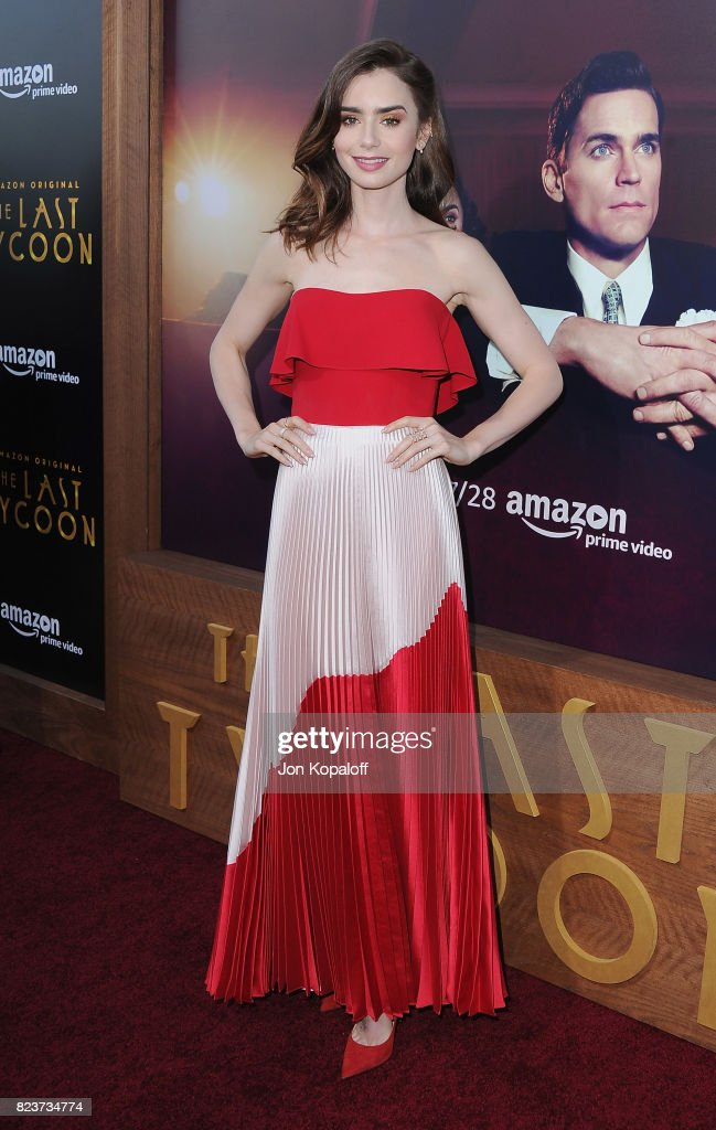 Actress Lily Collins arrives at the Premiere Of Amazon Studios' 'The Last Tycoon' at the Harmony Gold Preview House and Theater on July 27, 2017 in Hollywood, California.