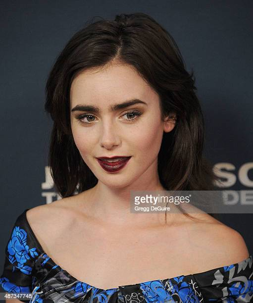 Actress Lily Collins arrives at the premiere of 'Jeremy Scott The People's Designer' at TCL Chinese 6 Theatres on September 8 2015 in Hollywood...