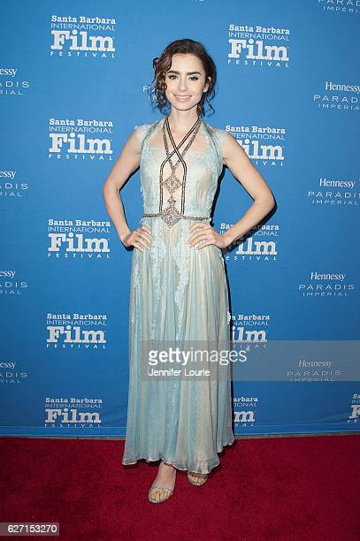 Actress Lily Collins arrives at the Santa Barbara International Film Festival honors Warren Beatty with the 11th Annual Kirk Douglas Award for...