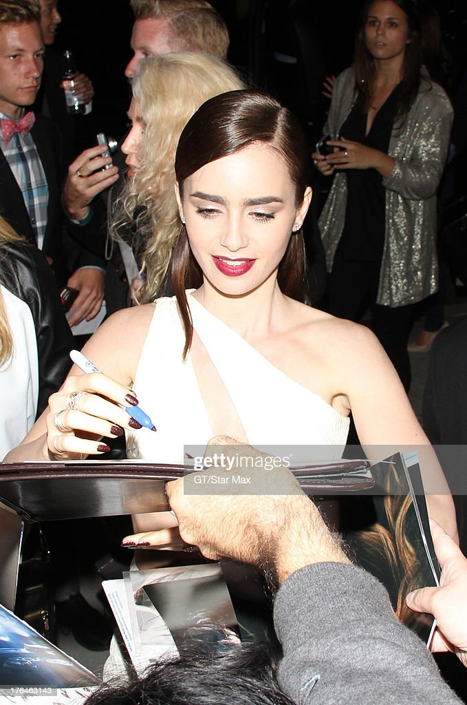 Actress Lily Collins as seen on August 12, 2013 in Los Angeles, California.