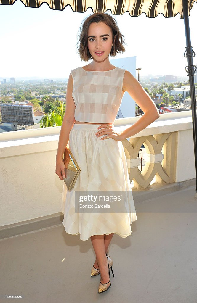 Actress Lily Collins at Eddie Redmayne Vanity Fair And Burberry Celebrate BAFTA Los Angeles and the Britannia Awards at Chateau Marmont on October 29...