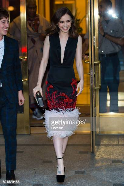 Actress Lily Collins attends a dinner honoring Anna Wintour on June 26 2017 in New York City