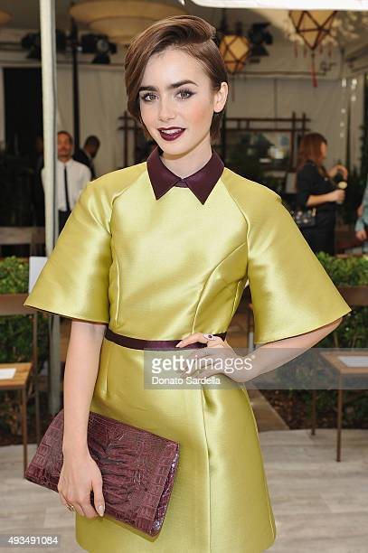 Actress Lily Collins attends CFDA/Vogue Fashion Fund Show and Tea at Chateau Marmont on October 20 2015 in Los Angeles California