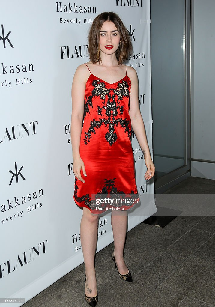 Actress <a gi-track='captionPersonalityLinkClicked' href=/galleries/search?phrase=Lily+Collins&family=editorial&specificpeople=3520243 ng-click='$event.stopPropagation()'>Lily Collins</a> attends Flaunt magazine En Garde! issue launch party on November 7, 2013 in Beverly Hills, California.