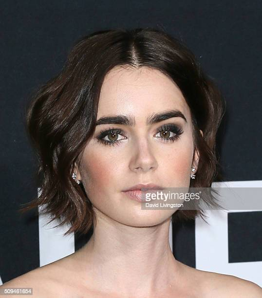 Actress Lily Collins attends Saint Laurent at Hollywood Palladium on February 10 2016 in Los Angeles California
