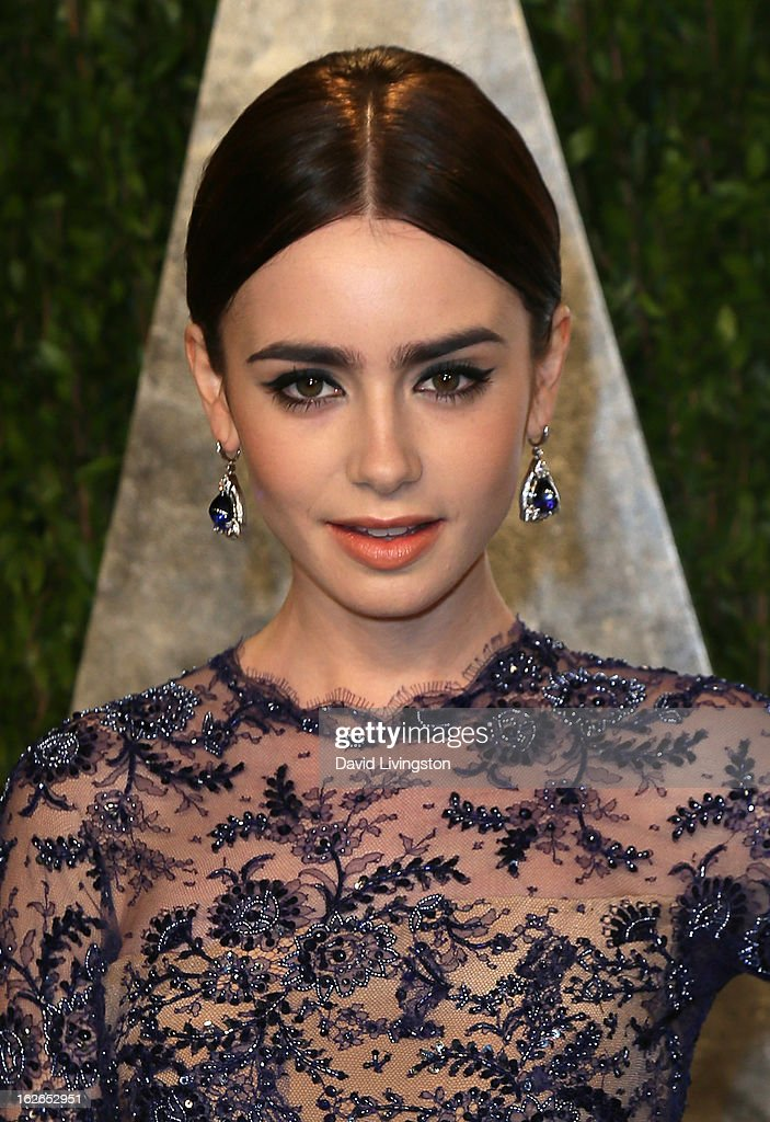 Actress Lily Collins attends the 2013 Vanity Fair Oscar Party at the Sunset Tower Hotel on February 24, 2013 in West Hollywood, California.