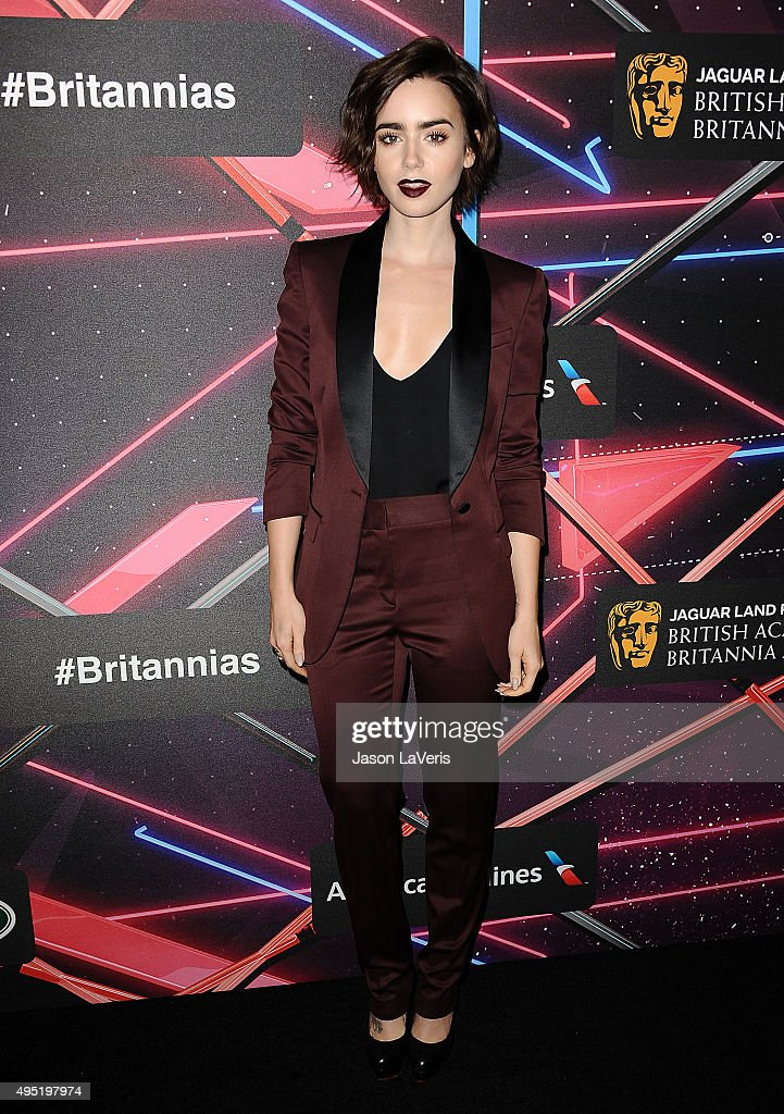 Actress Lily Collins attends the 2015 British Academy Britannia Awards at The Beverly Hilton Hotel on October 30 2015 in Beverly Hills California