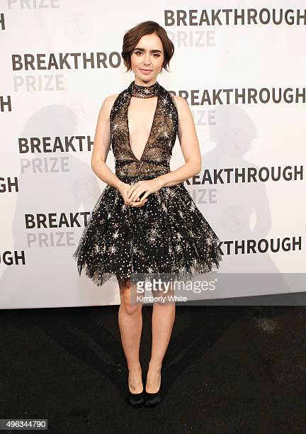 Actress Lily Collins attends the 2016 Breakthrough Prize Ceremony on November 8 2015 in Mountain View California