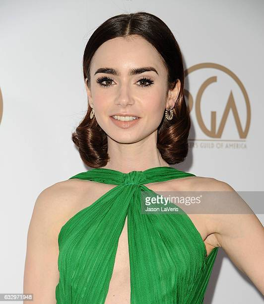 Actress Lily Collins attends the 28th annual Producers Guild Awards at The Beverly Hilton Hotel on January 28 2017 in Beverly Hills California