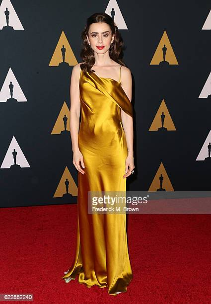 Actress Lily Collins attends the Academy of Motion Picture Arts and Sciences' 8th annual Governors Awards at The Ray Dolby Ballroom at Hollywood...