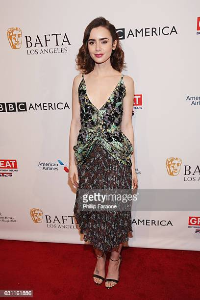 Actress Lily Collins attends The BAFTA Tea Party at Four Seasons Hotel Los Angeles at Beverly Hills on January 7 2017 in Los Angeles California