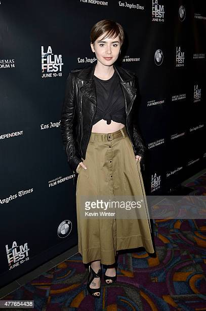 Actress Lily Collins attends the closing night live read of 'Fast Times at Ridgemont High' directed by Eli Roth during the 2015 Los Angeles Film...