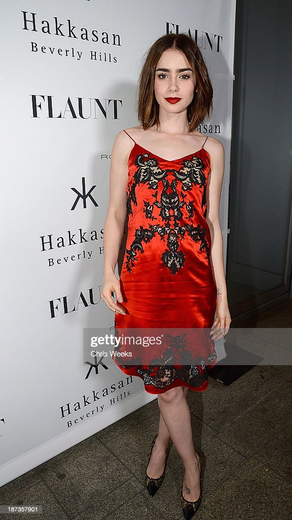 Actress Lily Collins attends the Flaunt Magazine November issue party at Hakkasan on November 7, 2013 in Beverly Hills, California.