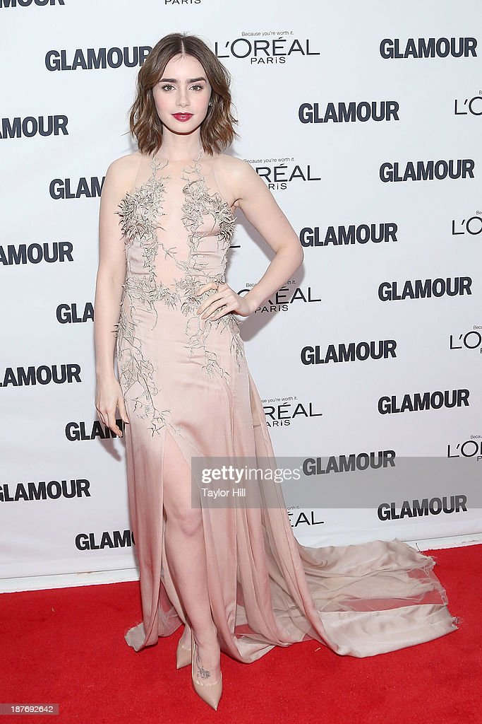 Actress <a gi-track='captionPersonalityLinkClicked' href=/galleries/search?phrase=Lily+Collins&family=editorial&specificpeople=3520243 ng-click='$event.stopPropagation()'>Lily Collins</a> attends the Glamour Magazine 23rd annual Women Of The Year gala on November 11, 2013 in New York, United States.