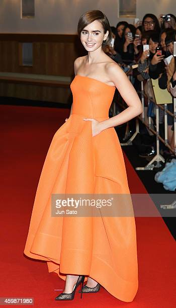 Actress Lily Collins attends the premiere for 'Love Rosie' at Harajuku Quest Hall on December 3 2014 in Tokyo Japan