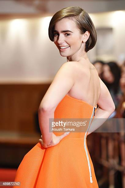 Actress Lily Collins attends the premiere of 'Love Rosie' on December 3 2014 in Tokyo Japan