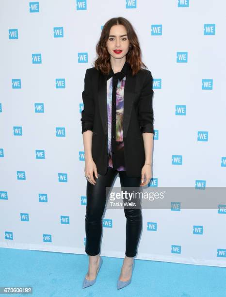 Actress Lily Collins attends We Day California 2017 Cocktail Reception at NeueHouse Hollywood on April 26 2017 in Los Angeles California