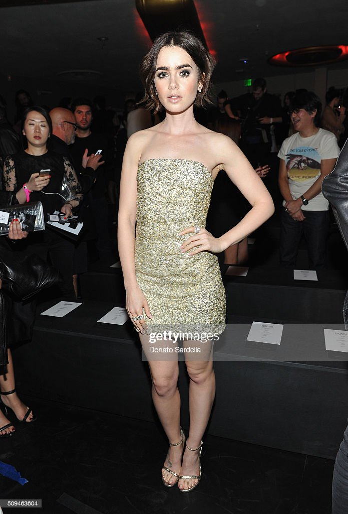 Actress Lily Collins, in Saint Laurent by Hedi Slimane, attends Saint Laurent at the Palladium on February 10, 2016 in Los Angeles, California for the Saint Laurent Los Angeles show.