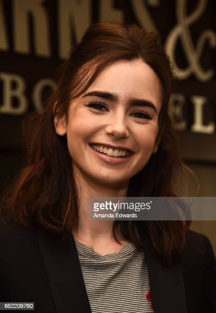 Actress Lily Collins poses before signing copies of her book 'Unfiltered No Shame No Regrets Just Me' at Barnes Noble at The Grove on March 11 2017...