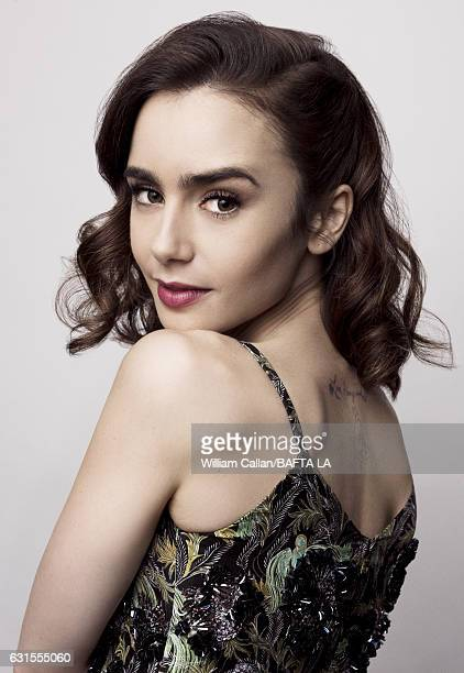 Actress Lily Collins poses for a portraits at the BAFTA Tea Party at Four Seasons Hotel Los Angeles at Beverly Hills on January 7 2017 in Los Angeles...
