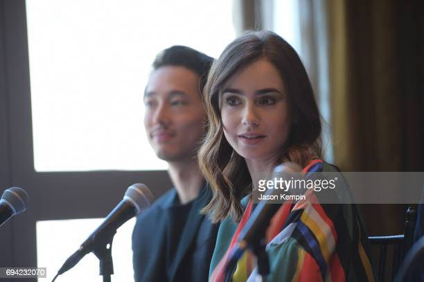 Actress Lily Collins speaks during the 'Okja' Press Conference New York at Mandarin Oriental Hotel on June 9 2017 in New York City