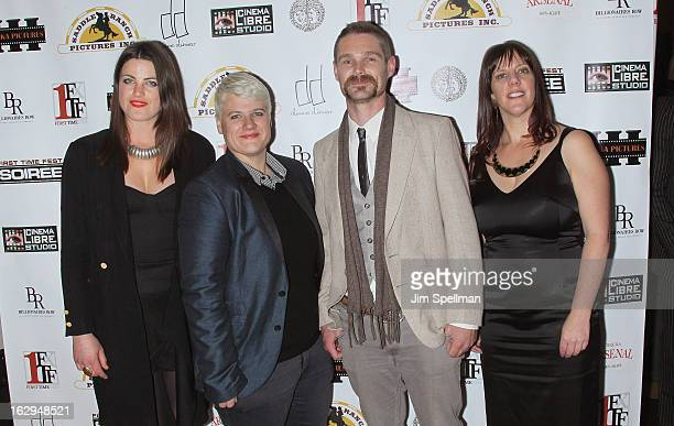 Actress Lily Hall cowriter Sophie O'Connor actor Kevin Dee and writer Kat Holmes from the movie 'Submerge' attend the opening night party for the...