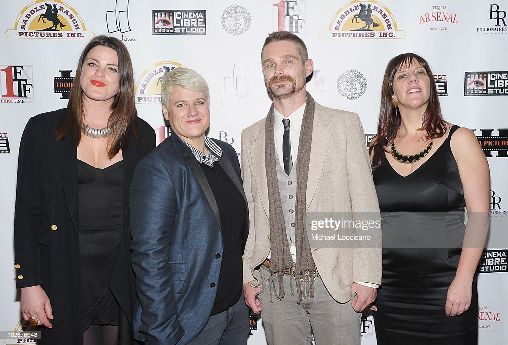 Actress Lily Hall, co-writer Sophie O'Connor, actor Kevin Dee and writer Kat Holmes attend the opening night party for the 2013 First Time Fest at The Players Club on March 1, 2013 in New York City.
