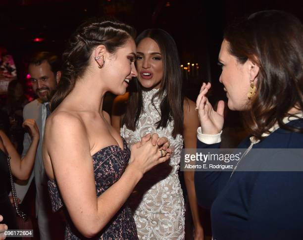 Actress Lily James actress Eiza Gonzalez Hannah Minghella President of TriStar Pictures attend the after party for the premiere of Sony Pictures'...